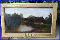 1700s CARISBROOKE Isle of Wight oil painting for restoration G. EICHEL antique