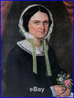 1830-1840 American Pennsylvania Naive oil painting Portrait Primitive Folk Art