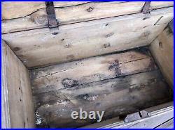 1882 Scandinavian Painted Pine Immigrants Trunk, Chest, Original Paint, Iron