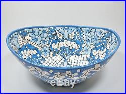 18 VESSEL TALAVERA SINK oval basket shape mexican hand painted ceramic folk art