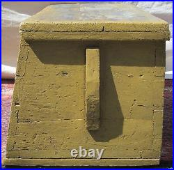 18th C Canted Antique Sea Chest With 1944 Artist Painted Harbor & Lighthouse