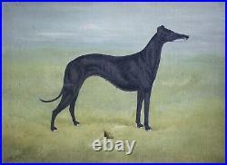 1909 A Stevenson Pair Folk Art Whippet Greyhound Dog Paintings Antique