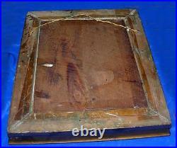 1920s Antique Vtg Folk Art Deco Lady Reverse Foil Painting, Gesso Wood Frame