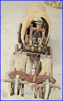 1920s Era Wood Hand Made & Painted Covered Wagon Primitive Folk Art BEAUTY LOOK