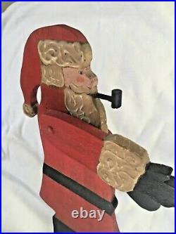 1983 Nancy Thomas Hand Carved Painted Wood Folk Art Santa Claus Christmas