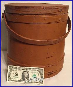 19th C Antique Wooden Firkin Sugar Bucket Early Pumpkin Paint Folk Art Aafa Nr