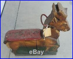 19Th C Antique Carved & Painted Wood Deer Carnival Animal Carousel Ride folk art