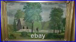 19thC Antique Barn Country Landscape Folk Art Painting Frame Martan