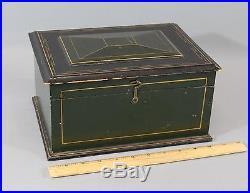 19thC Antique Cut-Nail & Pin Strip Painted Forest Green Primitive Folk Art Box