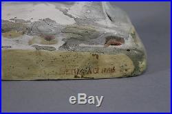 19thC Antique Folk Art Painted Chalkware Chalk Ram, No Reserve