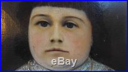 19thC Antique Folk Art Portrait Oil Painting Old OriginalGrain Painted Frame