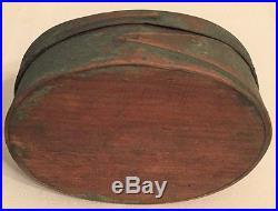 19th C ANTIQUE SHAKER OVAL PANTRY BOX EARLY DRY GREEN PAINT FOLK ART AAFA NR