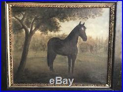 19th C Antique Folk Art Horse / Equine Painting M. E Slayton 1897