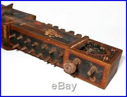 19th C Antique Indian Hand Painted Figurative Folk Art Sarangi String Instrument