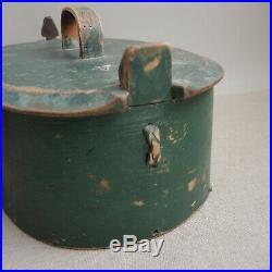 19th-C Antique Norwegian Tine Storage Box 1865 Green Paint Signed Bride Folk Art