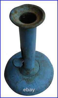 19th C Folk Art Country Primitive IRON Painted Hogscraper Candlestick dry BLUE