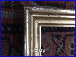 19th C Lemon Gold Silver Gilt Frames Pair Small Folk Art Watercolor 9 x 7.5 AAFA
