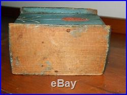 19th C PA Dutch German Domed Top Wood Blue Painted Folk Art Trinket Box AAFA