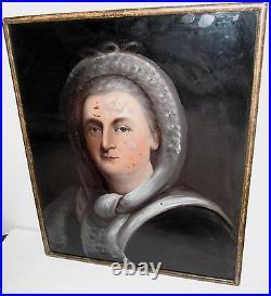 19th C William Matthew Prior Martha Washington Glass Antique Portrait Painting