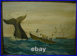 19th Century American Naive Folk Art Whaling Painting