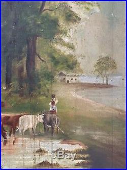 19th Century American Primitive Folk art Cows Dog Farm Scene Landscape Painting