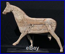 19th Century Folk Art Painted Carved Wood Full Bodied Running Horse Weathervane