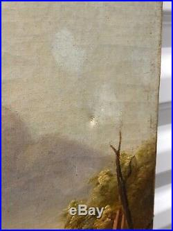 19th Century Landscape Oil Painting 30x27 American Folk Art