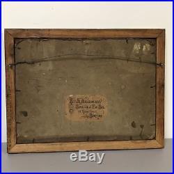 19th Century Oil on Masonite Folk Art Primitive Sick Donkey London Label