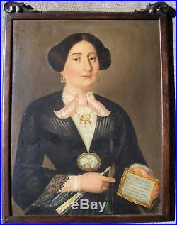 19th Century Primitive Folk Art Italian Oil On Canvas Painting Woman Portrait
