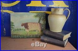 19th Century School Oil Painting On Canvas PRIZE COW Bull Naive Folk Art Signed