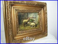 19th c. Antique BARN YARD FOLK ART Old SHEEP PAINTING 11 x 13 Orig. Gold Frame