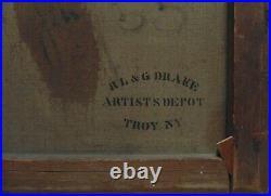 19th c. HORACE BUNDY Portrait Oil Painting Gentleman Man with Masonic Pin Antique