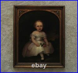 19th c Portrait Painting Child Oil on Board Antique Victorian Folk Art Primitive