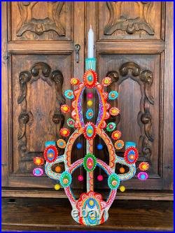 21 Mexican Tree of Life Folk Art Pottery Candle Handmade Painted Ceramic BOHO