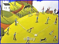 21x25 SUMMER BASEBALL FOREVER! ORIGINAL Criswell Signed/Folk/Oil-Framed Large