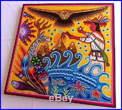 23.5 Huichol Yarn painting 60-023 Mexican Painting, Mexican Folk art, Wall art