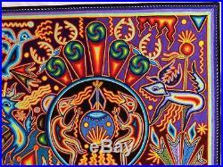 23.5 Huichol yarn painting, Mexican Folk art, Wall art, Mexican painting 60-102