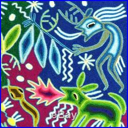 24 x 24 HUICHOL YARN PAINTING Original Mexican Folk Art