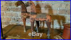 2 Vintage 19th Century 12 in. Wood Toy Horses Folk Art Original Paint Old Patina