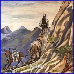 2 Vintage Signed Primitive Colorful Folk Art Oil Painting LF Smoke Adams WOW