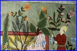 46 Antique Mughal Indian Painting Pigment Silk Traditional Folk Art Garden