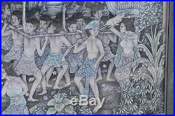 55 Vintage Ubud Balinese Jkt Ceremonial Tribal Village Folk Art Framed Painting