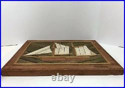 70s Rare Nautical Wooden Lath Folk Art Theodore DeGroot Clipper Sailboat Picture