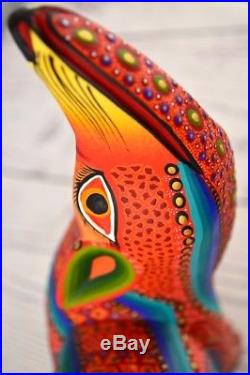 A1137 Wolf Alebrije Oaxacan Wood Carving Painting Handcrafted Folk Art Mexican C