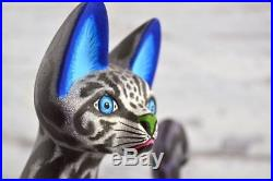 A1142 Cat Alebrije Oaxacan Wood Carving Painting Handcrafted Folk Art Mexican Cr