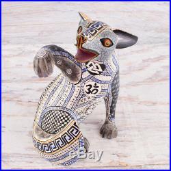 A1185 Fine Fox Alebrije Oaxacan Wood Carving Painting Handcrafted Folk Art Mexic