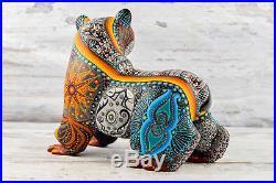 A1215 Bear Fine Alebrije Oaxacan Wood Carving Painting Handcrafted Folk Art Mexi
