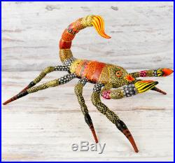 A1241 Scorpion Alebrije Oaxacan Wood Carving Painting Handcrafted Folk Art Mexic