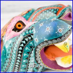 A1252 Jaguar Head Alebrije Oaxacan Wood Carving Painting Handcrafted Folk Art Me