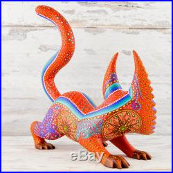 A1330 Cat Alebrije Oaxacan Wood Carving Painting Handcrafted Folk Art Mexi
